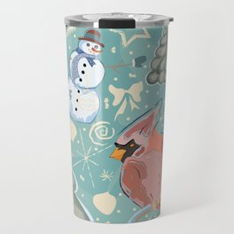 Seamless Winter Pattern with cute Cardinal Bird, Snowman and Spruce Tree Travel Mug