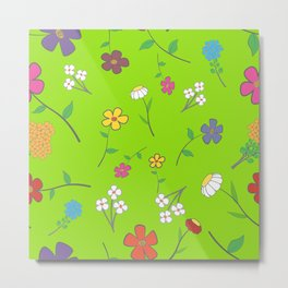 Background - floral seamless with a variety of flowers Metal Print