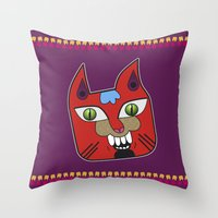 diablo Throw Pillows featuring Gato Diablo by Scribblebro
