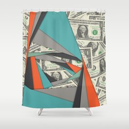 Colorful Currency Collage Shower Curtain