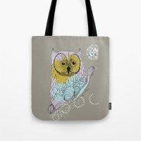 scandinavian Tote Bags featuring Scandinavian owl by CASTELBARCO DESIGN