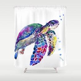 Sea Turtle Rainbow Colors, turtle design illustration artwork animals Shower Curtain