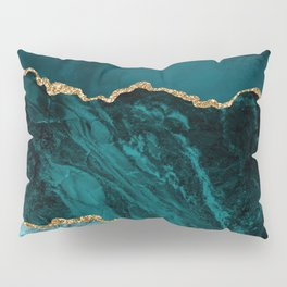 Teal, Gold, and Crushed Jade Agate Marble Design Pillow Sham