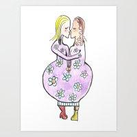 Kissing women in a flower dress Art Print