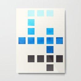Colorful Cerulean Blue Mid Century Modern Minimalist Square Geometric Pattern Metal Print