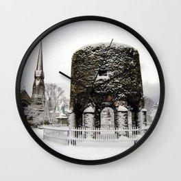Newport, RI Viking Tower, Touro Park Winter Scene Wall Clock