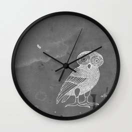 ATHENA'S OWL IN GREY BACKGROUND  Wall Clock
