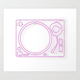 Neon Turntable 2 - 3D Art Art Print
