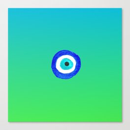 Single Evil Eye Amulet Talisman Ojo Nazar - ombre lime to tuquoise Canvas Print