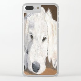 White Labradoodle Pup Clear iPhone Case