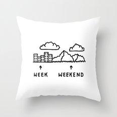 Week vs Weekend Throw Pillow