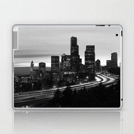 Seattle Skyline Sunset City - Black and White Laptop & iPad Skin