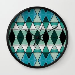 Art Deco Triangles Blue Wall Clock