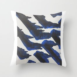Blue Print Throw Pillow