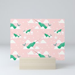 Sea unicorn - Narwhal green and pink Mini Art Print