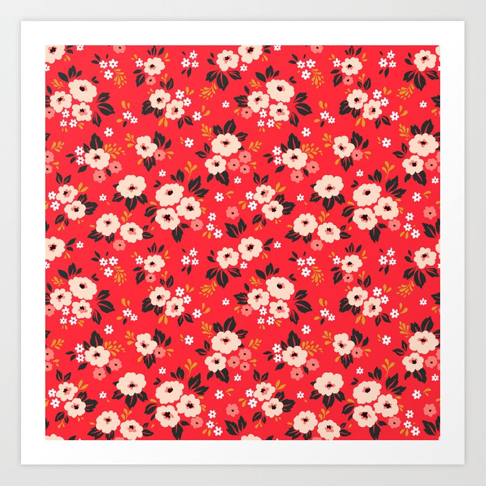 05 Ditsy floral pattern. Red background. White and pink flowers. Kunstdrucke