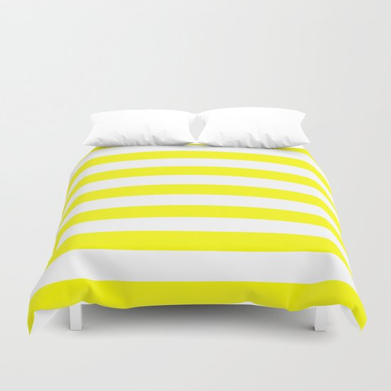 Horizontal Stripes (Yellow/White) Duvet Cover