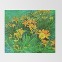 Day-glo Lilies Throw Blanket