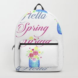 Rose flower bouquet watercolor jar for spring Backpack