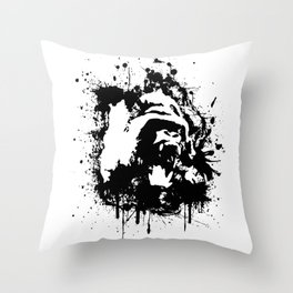 Gorilla Rage Throw Pillow