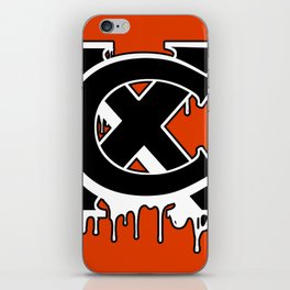 """XC"" Drip Logo Black/White/Orange iPhone Skin"