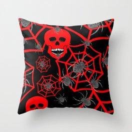 Red Skulls Halloween Throw Pillow