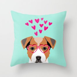 Jack Russell Terrier valentines day hearts love dog lover dog person gifts for valentine Throw Pillow