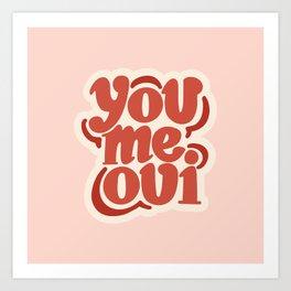 You Me Oui Pink/Red Hand Drawn Art Print