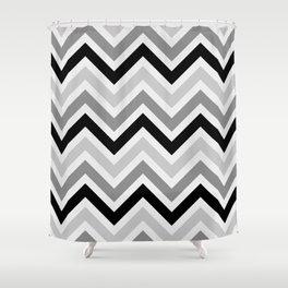 Chevron Stripes : Black Gray White Shower Curtain