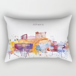 Colorful Athens watercolor skyline Rectangular Pillow