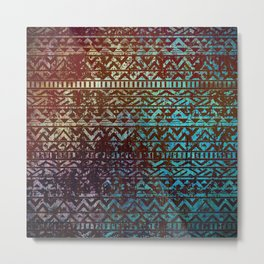 Grunge Bronze and blue Tribal Ethnic  Patter Metal Print
