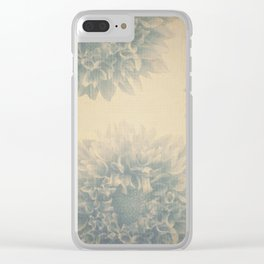 YESTERYEAR textured vintage ivory background with pale blue grey floral pattern Clear iPhone Case