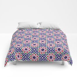 (N2) Red & Blue Original Traditional Moroccan Artwork. Comforters