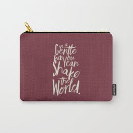Kindness quote by Mahatma Gandhi, Satyagraha, in a gentle way, you can shake the world, non violence Carry-All Pouch