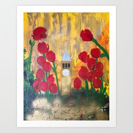 150 Years of CU - An Alumni Anniversary Tribute with Red Tulip Flowers Art Print