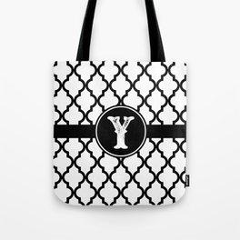 Black Monogram: Letter Y Tote Bag