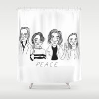 cactei Shower Curtains featuring Peace by ☿ cactei ☿