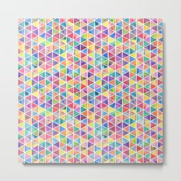 Colorful Watercolor Triangle Pattern Metal Print