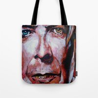 david bowie Tote Bags featuring Bowie by Ray Stephenson