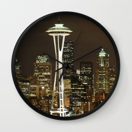 Seattle Space Needle at Night - City Lights Wall Clock