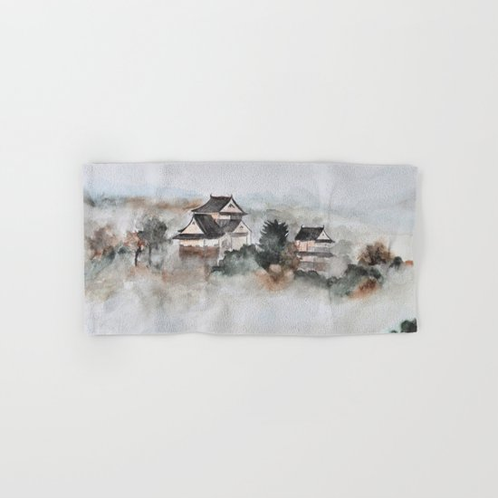 Japanese ancient city in fogging day Hand & Bath Towel