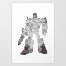 Optimus Black and White Art Print