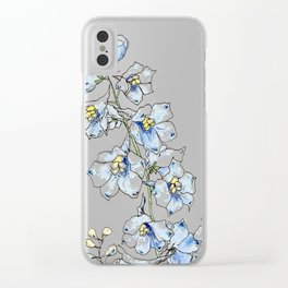 Blue Delphinium Flowers Clear iPhone Case