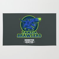 monster hunter Area & Throw Rugs featuring Monster Hunter All Stars - The Tanzia Brawlers by Bleached ink