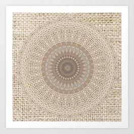 Unique Texture Taupe Burlap Mandala Design Art Print