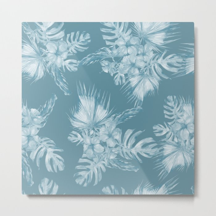 Teal Island Escape Palm Leaves + Flowers Metal Print