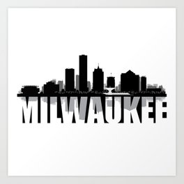 Milwaukee Silhouette Skyline Art Print