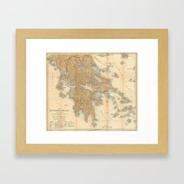 Vintage Map of Greece (1894) Framed Art Print