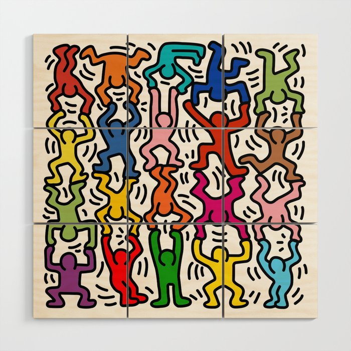 Homage to Keith Haring Acrobats II Wood Wall Art