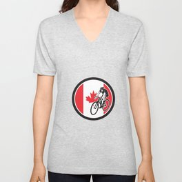 Canadian Cyclist Cycling Canada Flag Icon Unisex V-Neck
